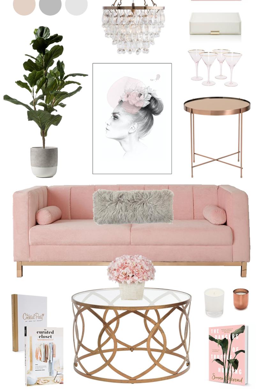Blush, Copper + Grey Home Decor